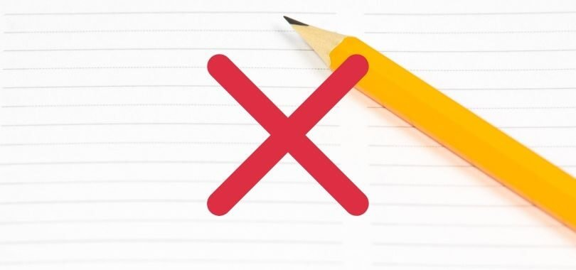 A pencil and red X icon.