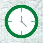 A clock icon on graph paper.