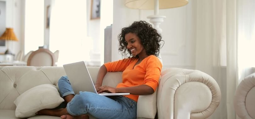 Student taking an online test at home.