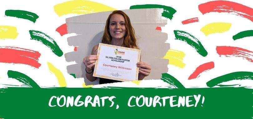 Courteney Wilkinson with her scholarship award certificate.
