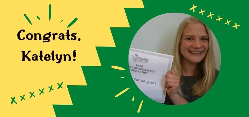 A young female student is smiling while holding a $2500 College Raptor Scholarship on a green background.