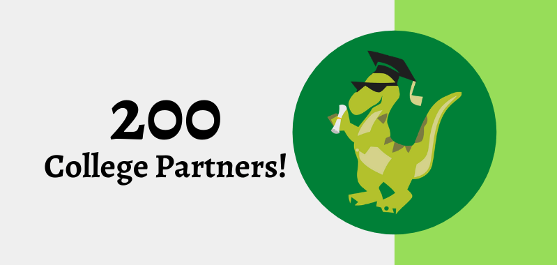 """College Raptor logo with text """"200 College Partners"""""""