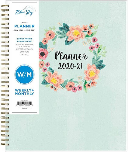 Blue Sky academic planner. Clicking will lead to its Amazon page.