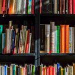 College major books on a shelf