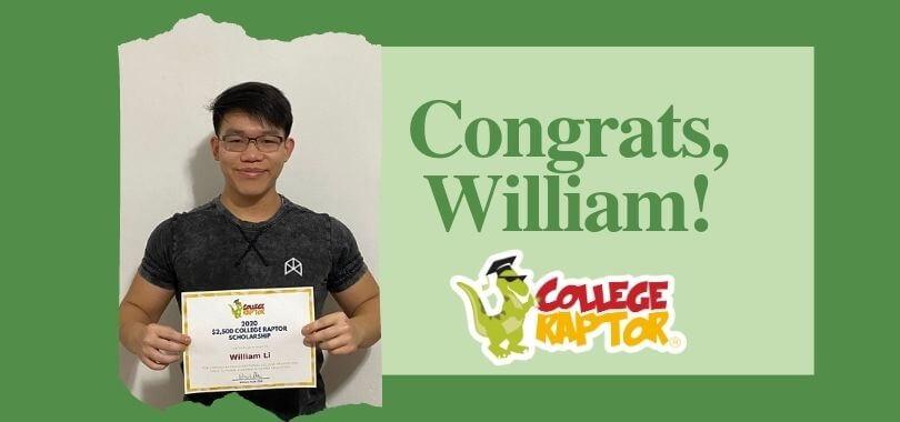 $2500 Scholarship winner William Li