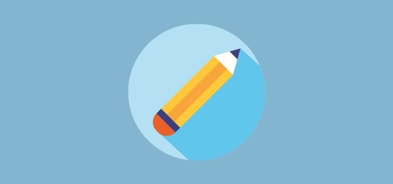 Graphic of a pencil for writing an application essay